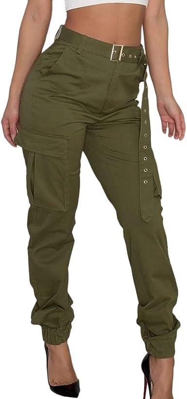 Bolawoo 77 Pantalones Pantalones Cargo Para Mujer Pantalones Casuales Pantalones De Combate Del Ejercito Militar Festivo Pantalones De Bolsillo Moda 2019 Ropa De Mujer Amazon Es Ropa Y Accesorios