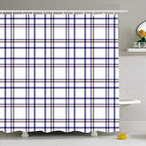 Preppy Blue Plaid - Ahawoso Shower Curtain 72 x 78 Inches Pattern Navy Preppy Tartan Plaid Checkered Gingham Vintage Blue Border Check Classic Coverlet Cozy Waterproof Polyester Fabric Bathroom Set with Hooks
