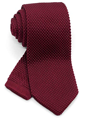 WANDM Men's Pointed Knit Tie Necktie Width 2.75 inches Washable Solid Color Burgundy Dark Red Wine