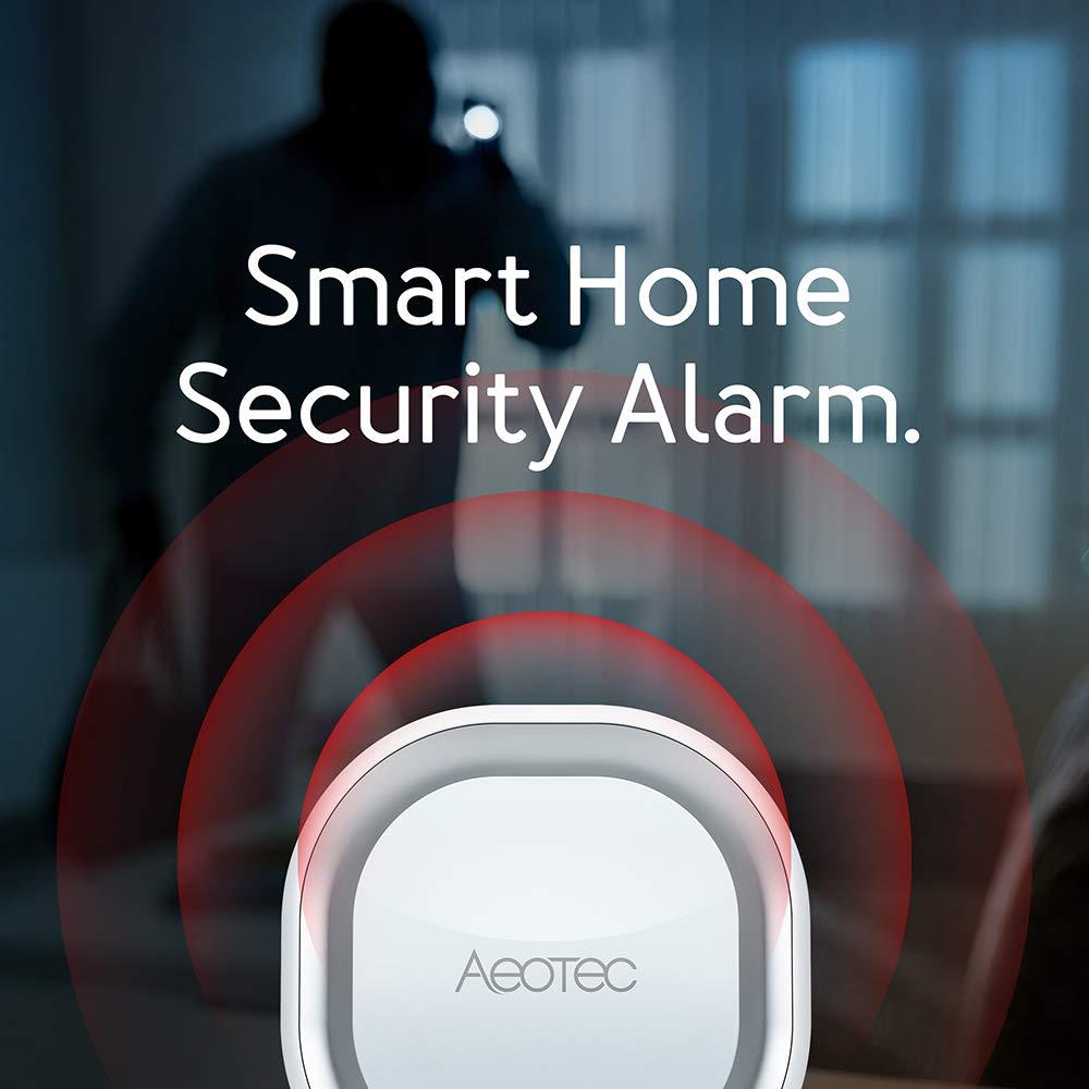 110dB Aeotec Z-Wave Siren 6 Alarma Contra Intrusos de Seguridad con luz y Sonido Montada en la Pared con bater/ía de Respaldo Altavoz de Seguridad y Protecci/ón con Z-Wave Plus S2