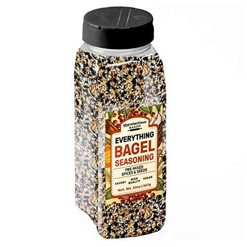 Everything Bagel Seasoning, 20 oz. by Unpretentious Baker, Add Texture & Flavor to Any Recipe, Mix of Sesame Seeds, Poppy Seeds, Garlic, Onion & Salt, Convenient Shaker Bottle (20 oz)