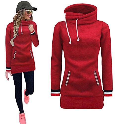 Jushye Women's Hoodies, Ladies Autumn Long Sleeve Blouse Sweater Sweatshirt Pullovers Tops Blouse Coat (XL, Red)
