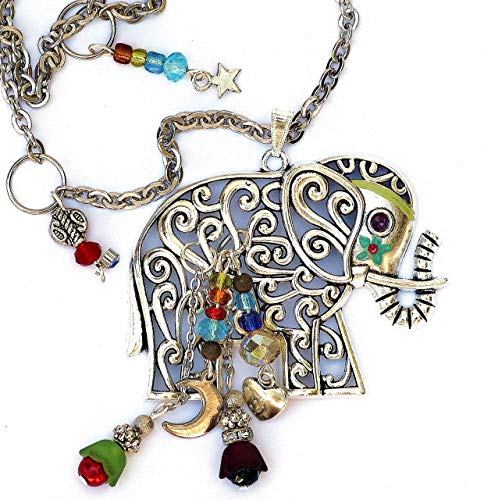 Large Silver Plated Boho Indian Elephant Pendant Necklace with Dangling Crystal Glass Beads and Painted Accents