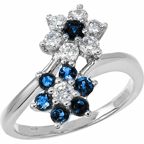 Amoro 18k White Gold Sapphire and Diamond Ring (0.50 cttw, H-I Color, SI2-I1) ()