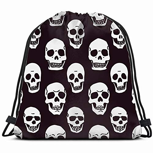 Hand Drawn Skulls On Abstract Objects Drawstring Backpack Bag Sackpack Gym Sack Sport Beach Daypack For Girls Men & Women Teen Dance Bag Cycling Hiking Team Training -