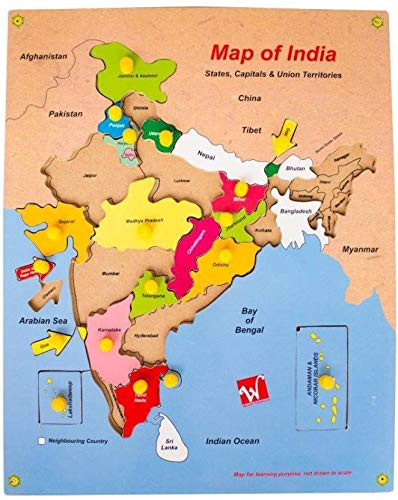 Toyvala Indian Map Wooden Knowledge Map & Learning Puzzle, Board Game