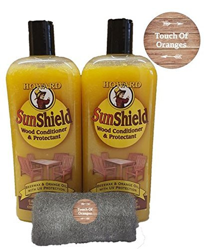 Howard SunShield Outside Wax for Wood, 2 x16 Ounce Bottles, Furniture Wax with UV Protection, Protect Outdoor Furniture from Sun and Moisture Damage by Howard Products