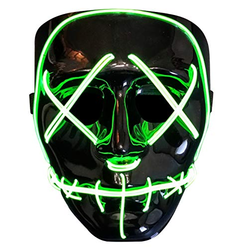 Trippy Lights The Original LED Light Up Election Year First Purge Movie Mask (Green) -
