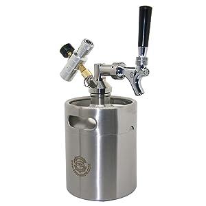 Homebrew Mini Keg Beer Growler - PERA Brand Include 64OZ Beer Mini Keg, Beer Faucet, Keg Spear, Gas Regulator, Beer Line for Fermenting, Soda, Homebrew Beer