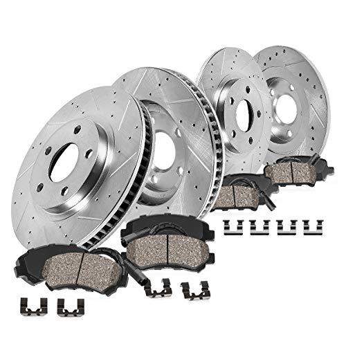 Callahan CDS02235 FRONT 320mm + REAR 299.83mm D/S 5 Lug [4] Rotors + Ceramic Brake Pads + Clips [Q5 Audi A4 A5 -