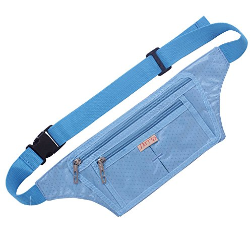 Naoki Outdoor Sports Running Jogging Cycling Hiking Camping Climbing Travel Ultra-thin Waterproof Polyester Waist Pack / Bag Runner Belt(Sky Blue)