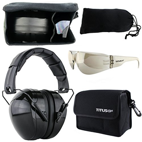 TITUS Gloss Black 32NRR Muffs & G Series Safety Glasses (EarMuffs, Glasses, and Carrying Case) (Standard, G8 Light Mirror Smoke Tint - Full Shield Sports)