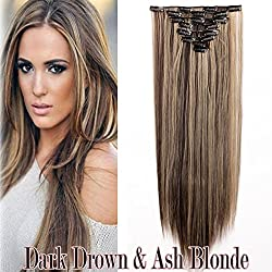 """Ombre Clip in Full Head Hair Extensions Wavy Straight 8PCS/SET Two Tones Dip Dye Color Synthetic Fibre Hair Hairpieces for Women(26""""-straight, dark brown & ash blonde)"""