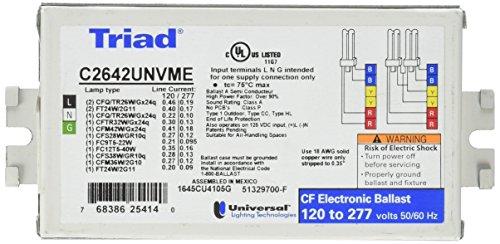 Universal C2642UNVME Compact Fluorescent Ballast, 2 Lamp, 26W CFL, 120/277V (2 Lamp 26 Watt Ballast)