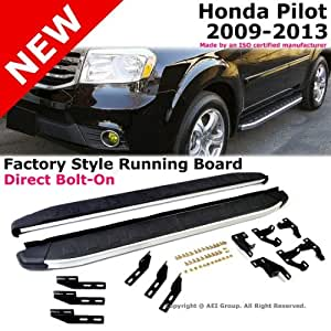 2009 to 2013 Honda Pilot 09-13 Running Board Side Step Rail Bar Silver Black Aluminum