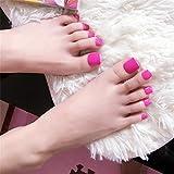 press on toenails - False Toe Nail Tips for Women Pedicure Press on Nails with Glue Full Cover Short Square Toenails kit 24 pcs/set Pink