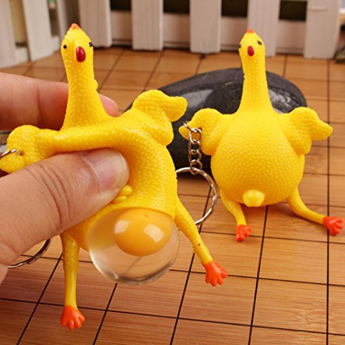 Keychain Mini Game (Transer Fun Cute Chicken and Eggs Squeeze Charm Simulation Kid Toy Key Chain Ornaments Gift (Yellow))