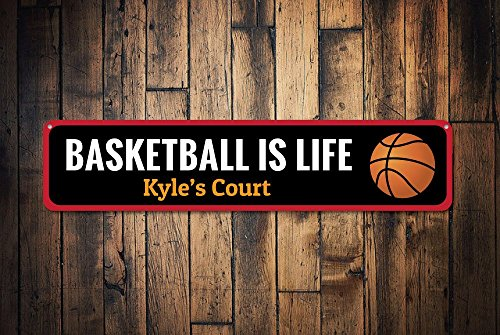 Yetta Quiller Basketball is Life Sign Custom Kid Name Bedroom Sign Personalized Basketball Court Sports Kid Room Decor Tin Metal Aluminum Sign