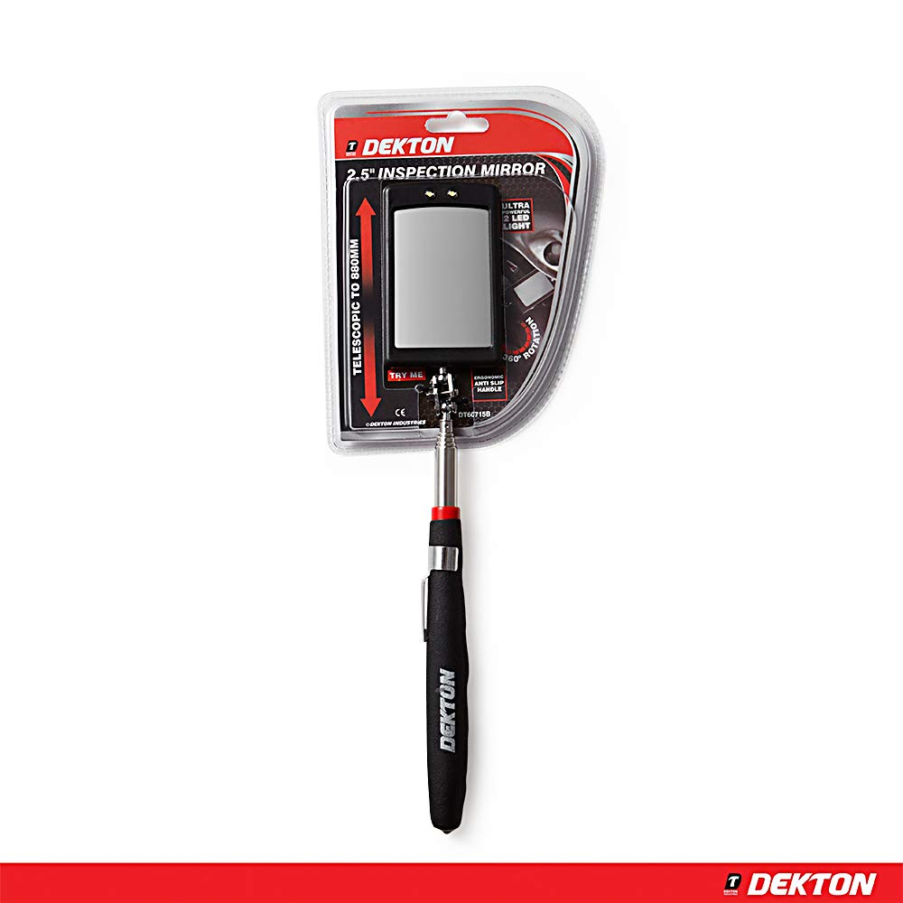 2.5-inch Black//Red DEKTON DT60715B Inspection Mirror
