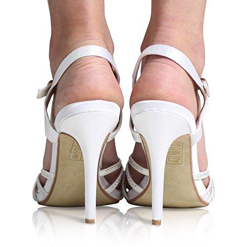 CORE COLLECTION NEW WOMEN LADIES DIAMANTE BRIDAL ANKLE STRAP WEDDING PROM PARTY SHOES SIZE 3-8 White Satin UDl1KJy