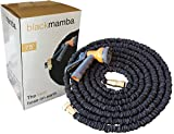 #4: Black Mamba, Updated and Improved, 75', Expanding Garden Hose, Double Latex Core, Reinforced fabric cover, brass fittings, Includes 8 Position Spray Nozzle