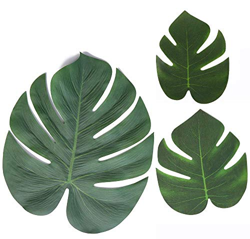 Moon Boat Tropical Palm Leaves Plant Imitation Leaf-Hawaiian/ Luau/Jungle Party Table Decorations (48PCS)