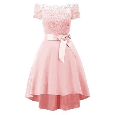 b1f8345765 Alixyz Women s Vintage Off-Shoulder Cocktail Party Dress Short Sleeve Bow  Tie Mini Dress(