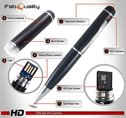 FabQuality Hidden Pen Camera Spy Pen Camera HD 1080P Clip On Body Camera Mini Camera Pen 16GB SD Card with Included Wonderful Spy Gadgets for Business and Conference
