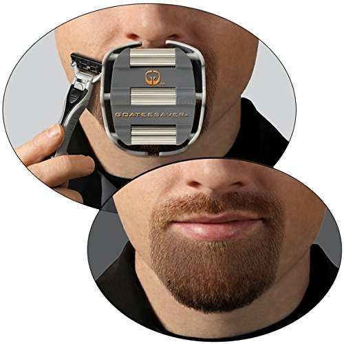 GoateeSaver - The Goatee Shaving Template - Create a Perfectly Shaped Goatee Every Time - Easy to Use and Easy to Clean - Adjustable and Fits Most Face Sizes - Saves Shaving (Beard With Goatee)