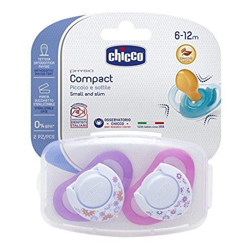 Chicco Physio Compact - Pack de 2 chupetes de látex/caucho para 6-16 meses, color rosa