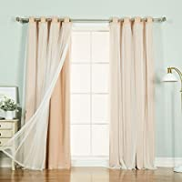 Best Home Fashion GROM_BO_MARRYME Indiepink Lace Overlay Blackout Curtains, 52 W x 108 L, Marry Me Indie Pink