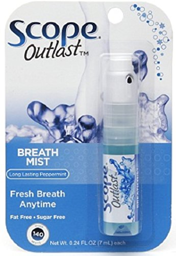SCOPE Outlast Breath Mist, Long Lasting Peppermint 0.24 oz (Pack of 12)