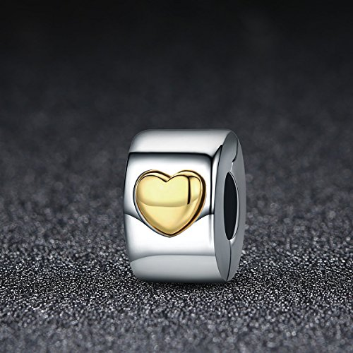 Heart Clip Charm Love you Forever 925 Sterling Silver Lock Spacer Stopper Bead Charm for Bracelet BJ09005 by Forever Queen (Image #1)