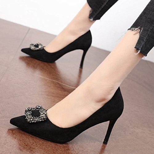 FLYRCX La primavera y el otoño, temporada de temperamento dama moda tacones altos tacones altos y superficialmente solo zapatos B