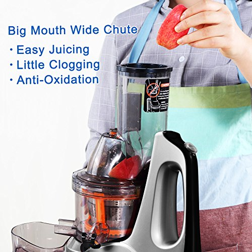 Wide Mouth Cold Press Slow Juicer : SKG Wide Chute Anti-Oxidation Slow Masticating Juicer 240W AC Motor, 60 RPMs, 3