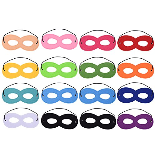 Blulu 16 Pieces Superhero Masks Felt Mask Eye Masks Half Masks Party Masks with Elastic Rope for Party (Black And White Superhero Costumes)