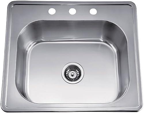 Daweier EST252208 Sink Top Mount Single Bowl, 18 Gauge