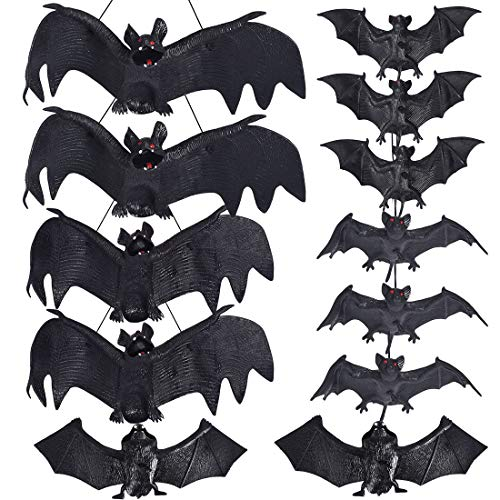 Hanging Bat Decorations Halloween (Max Fun Halloween Décor Set of 12 Realistic Looking Spooky Hanging Bats with 5 Size for Best Halloween)