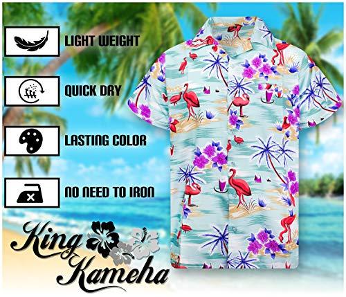 King Kameha Funky Chemise Hawaïenne | Hommes | XS – 6XL | Manche-Courte | Poche-Avant | Hawaiian-Imprimer | Flamingo