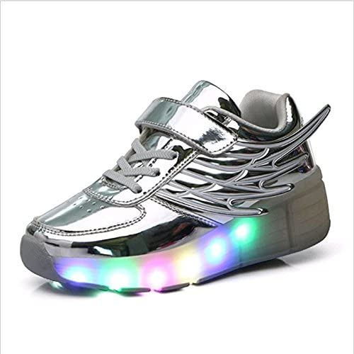 Little Kid//Big Kid xiaoyang Boy and Girls Wings LED Light Up Roller Skate Shoes with Wheels Outdoor Sneakers