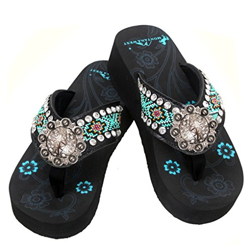 Embroidered Montana Sandals Flip Studded Oildrk Flop Silver Hand Beaded Bk West nZZqY5rP