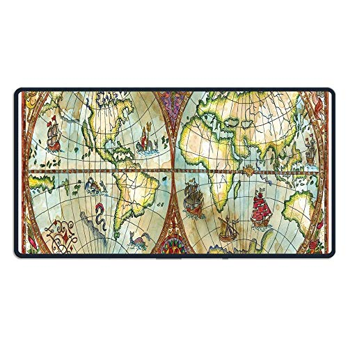 (TRUSTINEE Vintage World Map Antique Grunge Drawings Mystic Symbols Adventure Discovery(29.5×15.7×0.12 Inch) Computer Keyboard Game Mouse Pad)