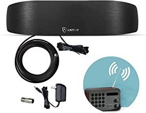 ANTOP Radio Antenna, FM AM Amplified Indoor Radio Antenna for Receiver, 50 Miles Extension Multi-Directional Reception for Stereo Radio Audio Signals, Great for Listen to Your Radio Stations