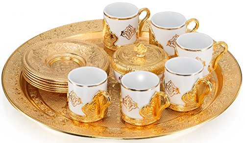 21 Pieces Unique Stunning Espresso Turkish Greek Coffee Serving Set - Porcelain Cups with Tray and Sugar Bowl - Vintage Design Ottoman Arabic Gift Set, Gold (Turkish Serving Tray)