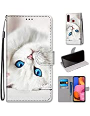 Miagon Full Body Case for Samsung Galaxy A20S,Colorful Pattern Design PU Leather Flip Wallet Case Cover with Magnetic Closure Stand Card Slot,White Cat