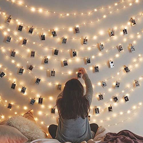 WALPLUS 180 LED Photo Clips Decorative String Fairy Lights, DIY Light  Decorations, 9 Packs of 2.2m Length Each(Total 19.8m Length)