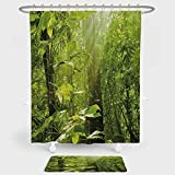 iPrint Nature Shower Curtain And Floor Mat Combination Set Forest...