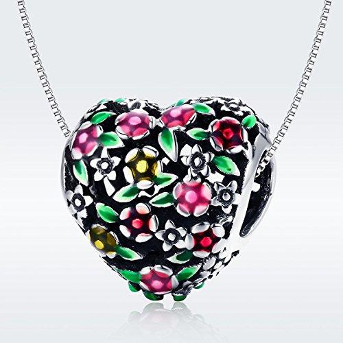 BAMOER 925 Sterling Silver Heart Charm Bead Love Charm Fit for Snake Chain Bracelet Spring Flower Charm by BAMOER (Image #5)