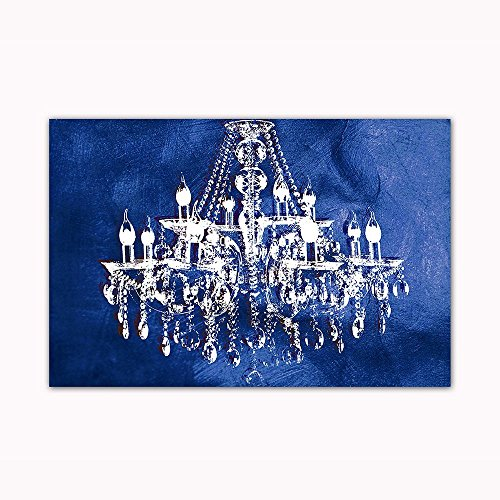 - Navy Blue Chandelier Wall Decoration Art Decor Print on 24