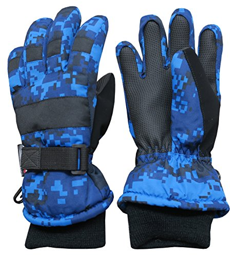 (N'Ice Caps Kids Cold Weather Waterproof Camo Print Thinsulate Ski Gloves (Blue Digital Camo, 8-10 Years))